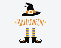 Happy halloween card design with witch legs and Stock Images
