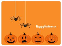 Happy Halloween card with evil laughing pumpkins Stock Image