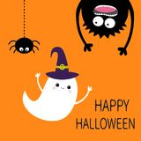 Happy Halloween card. Flying ghost spirit witch hat. Monster head silhouette. Eyes, hands. Hanging upside down. Black spider. Funn Stock Images