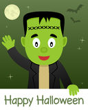 Happy Halloween Card with Frankenstein Royalty Free Stock Images