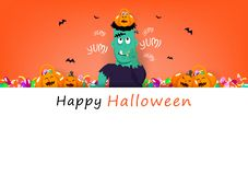 Happy Halloween card, frankestein eating sweet candy with cute pumpkin, celebration holiday season, party festival cartoon concept stock illustration