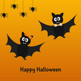 Happy  Halloween card with fun bats and spiders. Royalty Free Stock Photos