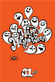 Happy Halloween Card with funny ghost. Invitation to party Stock Photography
