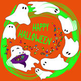 Happy Halloween card with funny ghosts. Royalty Free Stock Image