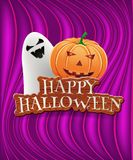 Happy halloween card with ghost and pumpkin. Vector illustration Royalty Free Illustration