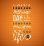 Happy Halloween Card with Ghosts. Happy Halloween card with orange grid background and ghosts elements Royalty Free Stock Images