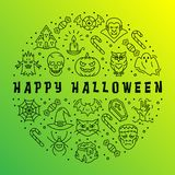 Happy Halloween card, Gradient app background, Halloween circle infographics. Vector Halloween illustration. Happy Halloween card, Gradient app background royalty free illustration