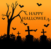 Happy halloween card with graveyard in background Royalty Free Stock Image