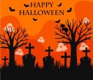 Happy Halloween card with graveyard scene Royalty Free Stock Photo