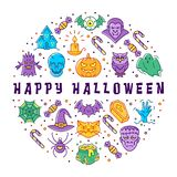 Happy Halloween card. Halloween circle infographics, trendy line art icons. Colorful Halloween icons for poster, tags. Banners, flyers, stickers. Vector flat stock illustration