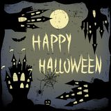 Happy halloween card.  Halloween  template with  four haunted castle, pumpkin,  full moon and bats. Royalty Free Stock Images