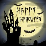Happy halloween card.  Halloween  template with haunted castle, full moon, trees and bats. Royalty Free Stock Photos