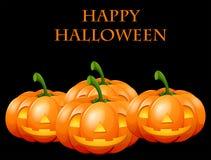 Happy Halloween card with jack o lanterns. Illustration Royalty Free Stock Image