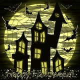 Happy Halloween card with magic castle, vector Royalty Free Stock Images