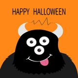 Happy Halloween card. Monster head with eyes, horns, tongue, electricity line. Black color. Funny Cute cartoon character. Baby col Stock Photography