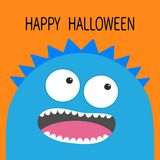 Happy Halloween card. Monster head with two eyes, teeth, tongue. Blue color. Funny Cute cartoon character. Baby collection. Flat d Stock Images