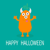 Happy Halloween card. Orange monster with eyes, horns, tongue, electricity line. Funny Cute cartoon character. Baby collection.  Royalty Free Stock Photography