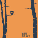 Happy halloween card with owl sitting on tree Royalty Free Stock Images