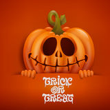 Happy Halloween card with pumpkin character Stock Images