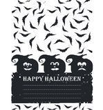 Happy Halloween card with pumpkin faces,  bats and place for you Royalty Free Stock Photo