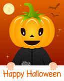 Happy Halloween Card with Pumpkin Head Stock Photo