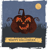 Happy Halloween card  with pumpkin head. For your designs.  Vector image Royalty Free Stock Photo