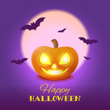 Happy Halloween card with pumpkin Stock Photo