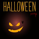 Happy Halloween card with pumpkin. Stock Photos
