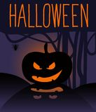 Happy Halloween card with pumpkin. Royalty Free Stock Photography