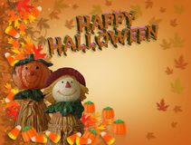 Happy Halloween card Pumpkin Scarecrow Stock Photo