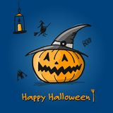 Happy halloween card, pumpkin sketch for your design Royalty Free Stock Photos