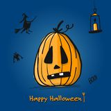 Happy halloween card, pumpkin sketch for your design Stock Photography