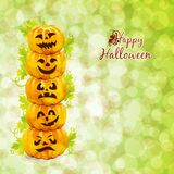 Happy Halloween card with pumpkins Stock Image