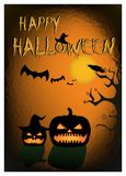 Happy halloween card. pumpkins silhouettes on the orange black background Royalty Free Stock Images