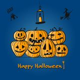 Happy halloween card, pumpkins sketch for your design. Vector illustration Royalty Free Stock Image