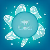 Happy Halloween card with scary ghost and stars. Happy Halloween card with scary ghost, stars and text field. Vector illustration Stock Photo