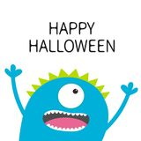 Happy Halloween card. Screaming spooky monster head silhouette. One eye, teeth, tongue, hands. Funny Cute cartoon character. Baby Stock Image
