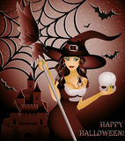 Happy halloween card, sexy witch and skull. 