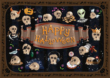 Happy Halloween card and skulls Stock Photos