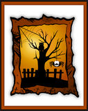 Happy Halloween card with smiling spider and an owl sitting on a tree Stock Images