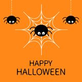 Happy Halloween card. Spider on the web. Cute cartoon baby character. Three hanging spiders. Insect set. Dash line. Cobweb white. Flat design. Orange Stock Image