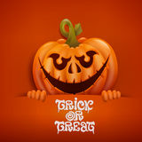 Happy Halloween card with spookey pumpkin character Royalty Free Stock Images