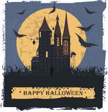 Happy Halloween card  with Stylis Witch Castle Stock Images