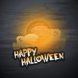 Happy Halloween Card Template - Flying Ghosts Over the Autumn Fog Royalty Free Stock Photos