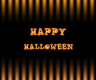 Happy halloween card with text on black and yellow gradation str. Iped pattern background, greeting card, banner, poster Stock Image