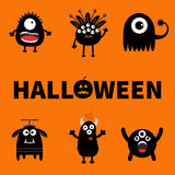 Happy Halloween card. Text with pumpkin. Black monster six set. Cute cartoon scary silhouette character. Baby collection. Orange b Royalty Free Stock Images