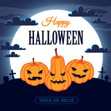 Happy Halloween. Card with three pumpkins Stock Image