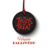 Happy Halloween card, trick or treat lettering on black banner Stock Photography