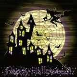 Happy Halloween card with witch, cat and magic castle, Stock Photo