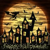 Happy Halloween card with witch and magic castle, vector Royalty Free Stock Photos